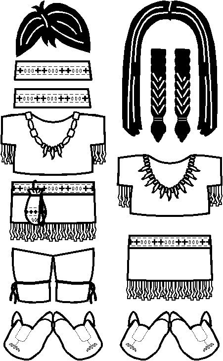 Native American Friends paper dolls to color #