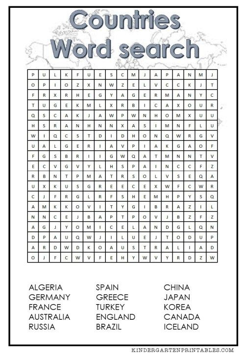 Word search, Country and Words on Pinterest