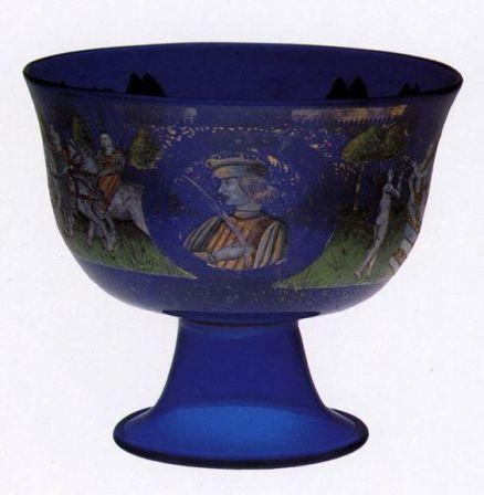 UNKNOWN GLASS MASTER, Italian Marriage Goblet c. 1470 Glassware Museo dell'Arte Vetraria, Murano:
