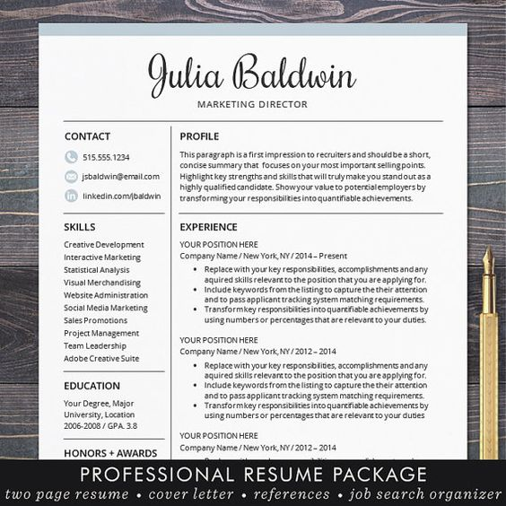 Professional Resume  CV Template Mac or PC for Word
