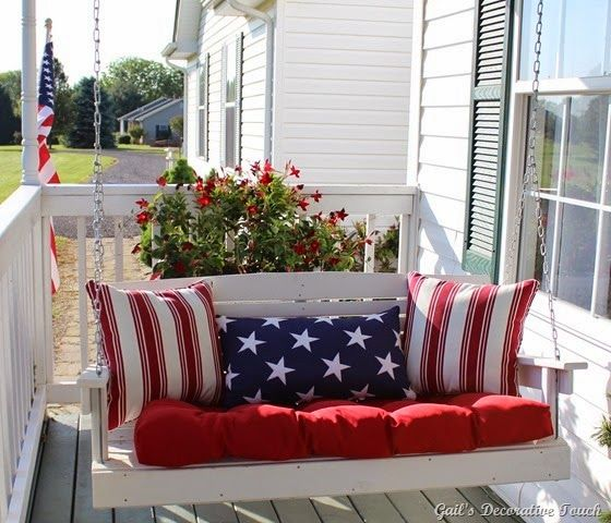 Patriotic Decorations Pillows Porch Swing Red White Blue Stars And Stripes American America United States of America USA 4th of July