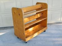 Vintage Wooden Library Book Cart - Rolling Book Cart ...