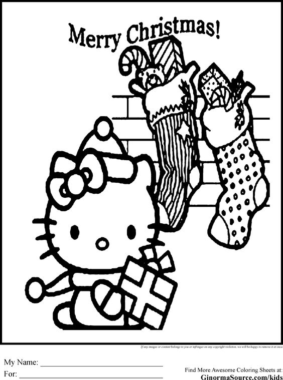 Hello kitty christmas, Kids coloring pages and Coloring