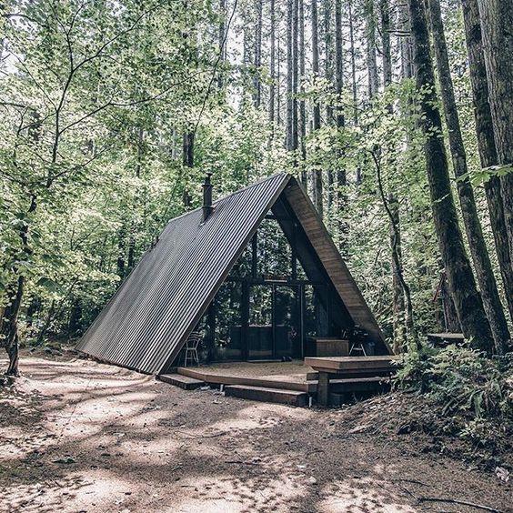 Modern A frame cabin: