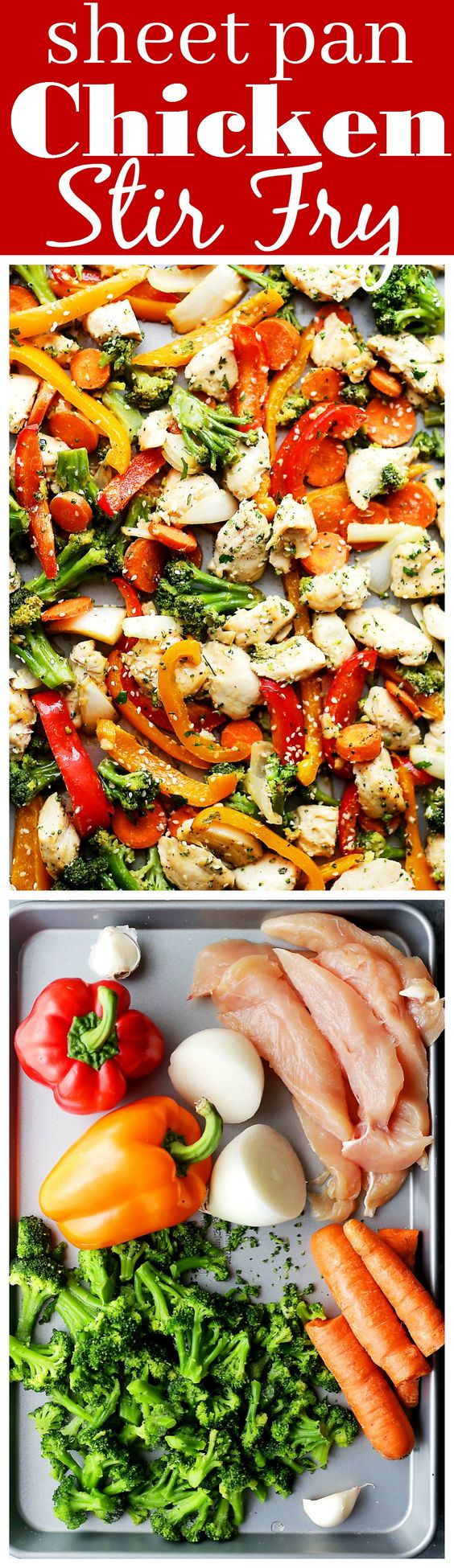 "Sheet Pan Chicken ""Stir Fry"" Recipe via Diethood - Just one pan and 30 minutes is all you will need to make this amazing meal! Skip the wok and make this quick and healthy chicken stir fry dinner in the oven!"