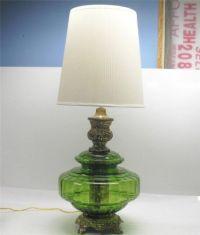 Vintage 70s GREEN BLOWN GLASS GLOBE & BRASS PATINA TABLE LAMP