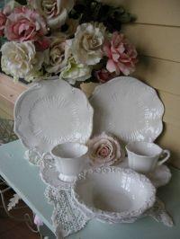 White Baroque Italian Dinnerware, White Scalloped Plates ...