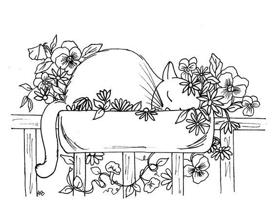 ADULT COLORING PAGE: digital download, cat, flowers