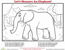 How to measure, Worksheets and Elephants on Pinterest