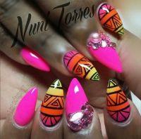 Colorful tribal stiletto nails   Nails   Pinterest ...