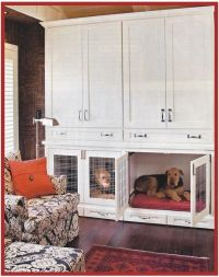 built in dog crates under closed cabinets in living room ...