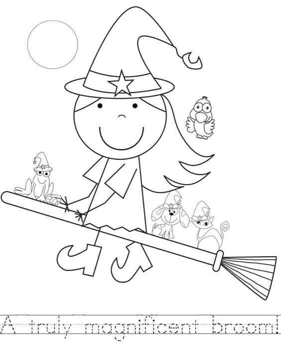 Room on the broom, Coloring sheets and Handwriting