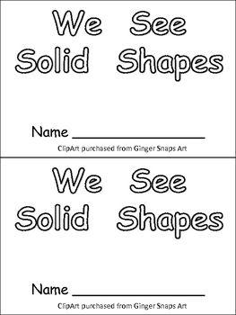 Solid Shapes Kindergarten Emergent Reader- 3-d shapes and