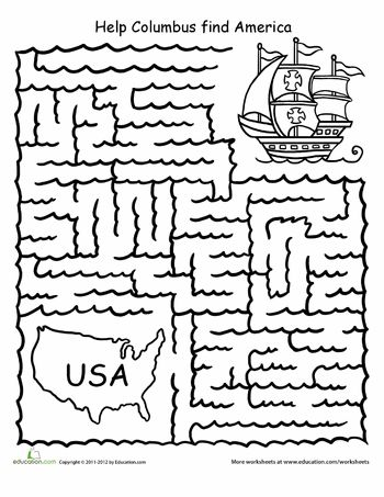 Columbus day, Worksheets and Maze on Pinterest