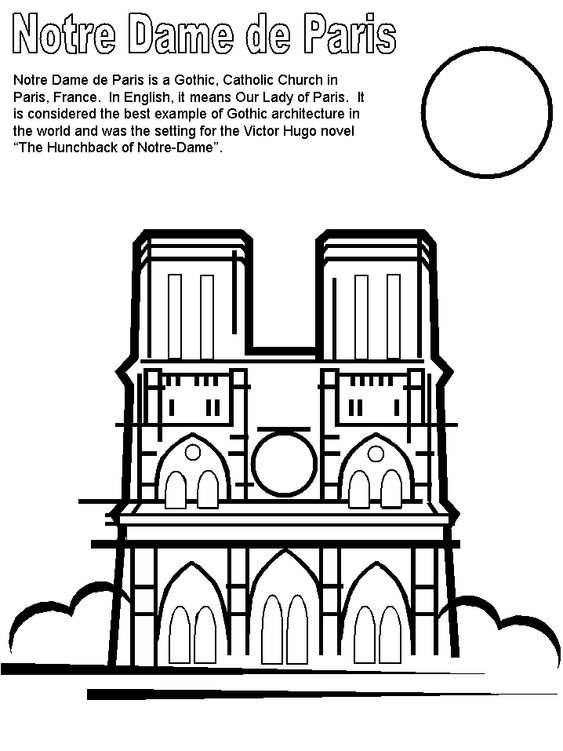 Print coloring page and book, Notre Dame France Coloring