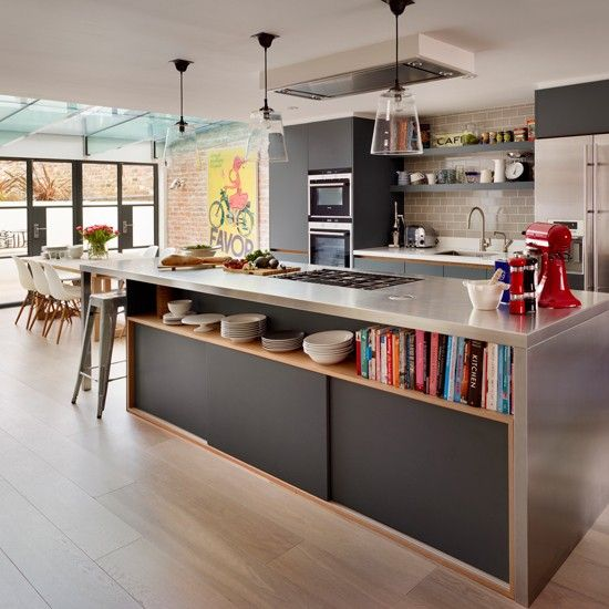 Inspirational This island has it all u seating storage open shelving surface space and a stove top this modern sleek look kitchen island offers so much for this