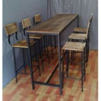 metal and wood tall bar table for 6 - Google Search ...
