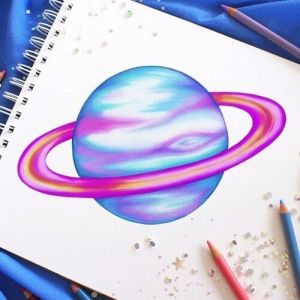 drawing planet drawings easy moon colorful colour pencil creative planets draw colourful colors heart galaxy fun kristina webb favim von
