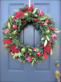 Red Green Christmas Wreath Holiday Door Decor Large ...