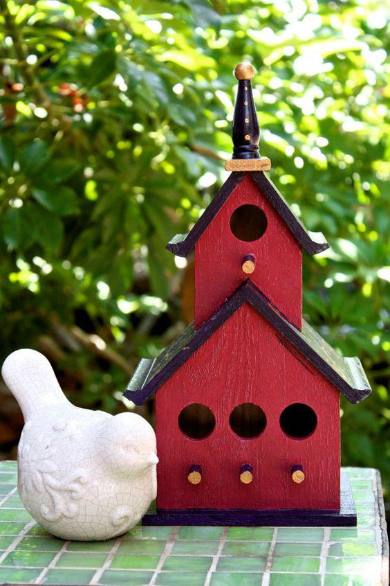Nice Red Bird House  Bird Gardens  Pinterest  House