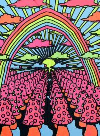 Vintage Neon Mushroom Psychedelic Trippy Black Light