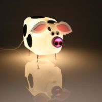 Cow lamp made out of an upcycled detergent bottle. Ah ...