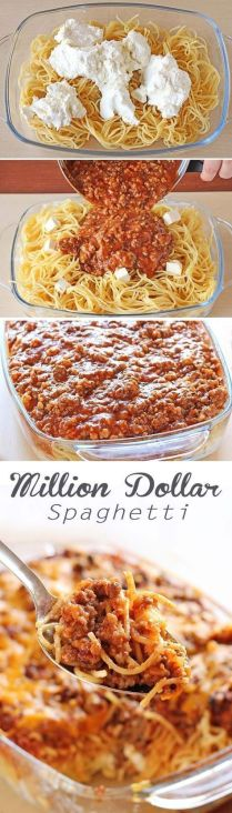 Spaghetti, spaghetti sauce, beef and cream cheese mixture meal ... that tastes like a million bucks.: