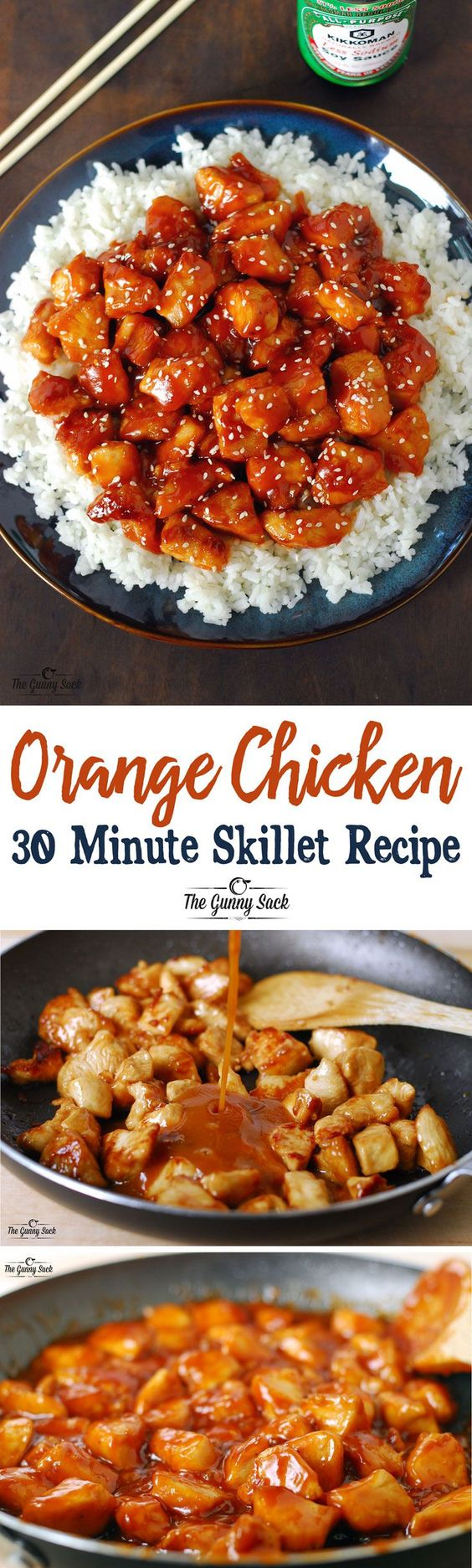 Orange Chicken 30 Minute Skillet Recipe via The Gunny Sack - An easy dinner idea that is family friendly! Homemade is always better than takeout! - The BEST 30 Minute Meals Recipes - Easy, Quick and Delicious Family Friendly Lunch and Dinner Ideas
