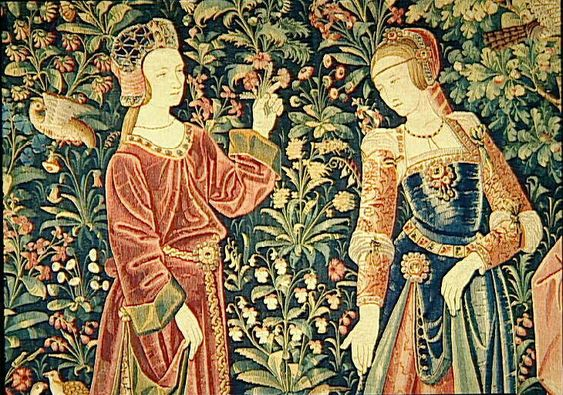 Tapestry of Court life - the promenade - at Cluny museum       1500 (approx) - Tapestry of Court life - the promenade - at Cluny museum     1500 (approx) - Tapestry of the harvest: grape pressing - Cluny museum     1500 (approx) - Tapestry of the scenes of Court: gentlewoman embroidering - Cluny museum: