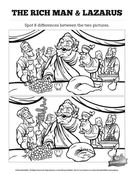 The Rich Man And Lazarus Pages Coloring Pages