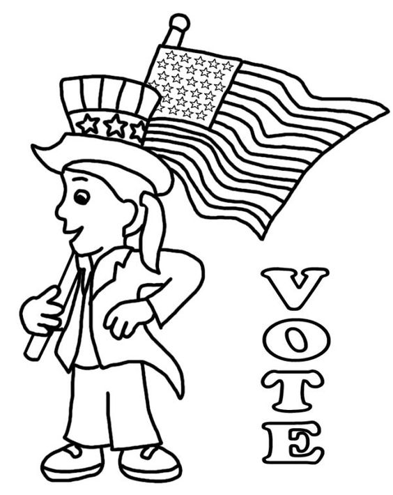 Coloring pages depicting Uncle Sam, voting booths, and