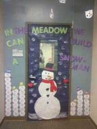 winter theme classroom door. snowman. elmers glue and ...