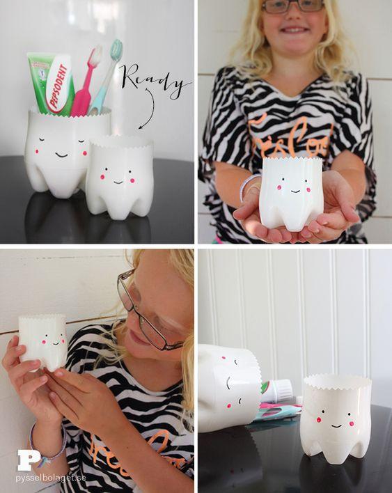 DIY – Botes de plastico para los cepillos de dientes - Tooth fairy Jars!!  #DIY #kids #funny: