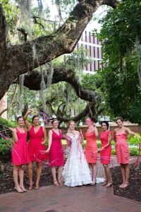 mismatched wedding watermelon coral pink bridesmaids ...
