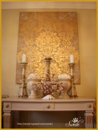 Fabric Damask Wall Stencil | Canvas wall art, Sprays and ...