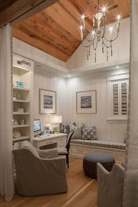 Small home office/den with reclaimed plank wood ceiling ...