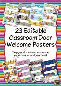 Welcome poster, Classroom door and Classroom on Pinterest