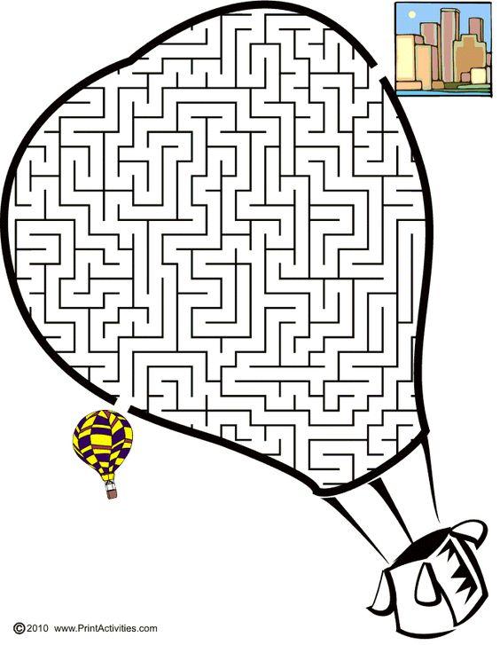 Hot air balloon shaped maze from PrintActivities.com