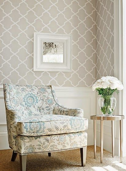 tan and teal sitting area / living room. Geometric modern