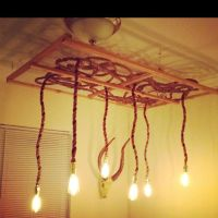 Rope, chicken wire, and wood chandelier | art | Pinterest ...
