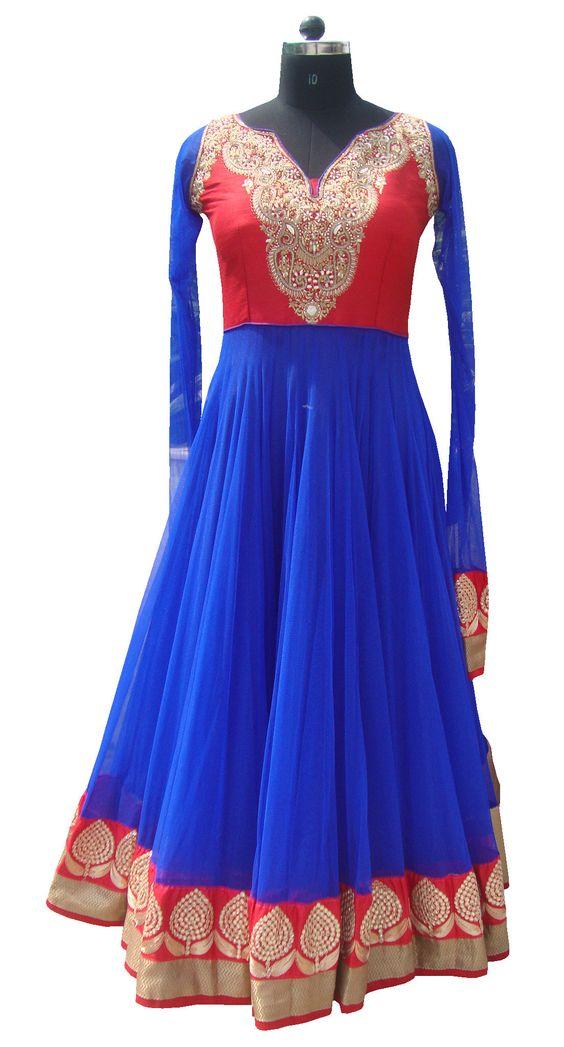 Royal blue floor length anarkali salwar kameez  Blue