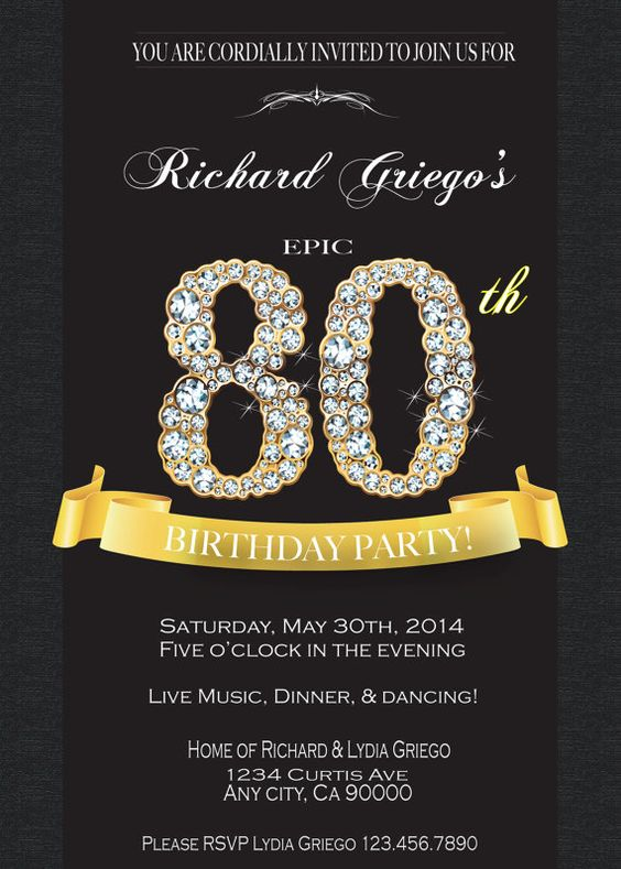 80TH BIRTHDAY INVITATION LB Life Style Birthdays