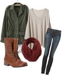 green military jacket, maroon circle scarf, oversized t ...
