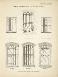 Wrought iron window grilles. with cast iron ornaments ...