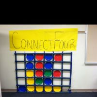Life size connect four game - use painters tape on the ...