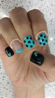 teal and black with heart polka
