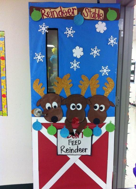 Christmas Door Decoration #reindeers #christmassdoor #