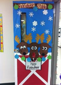 Christmas Door Decoration #reindeers #christmassdoor #