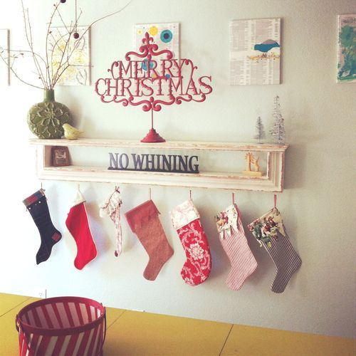 Remodelaholic How To Hang Stockings Without A Mantel Love This Idea For Hanging Stockings Without A Mantle