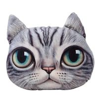 LifeJoy 3D Plush Cat Head Shape Pillow Car Sofa Chair Back ...